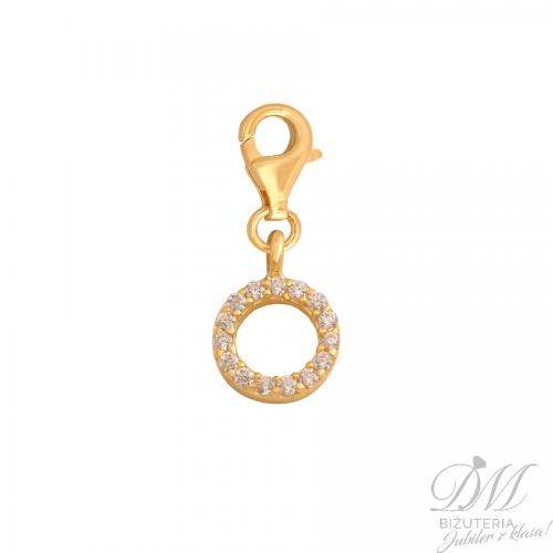 Złoty charms oponka z cyrkoniami