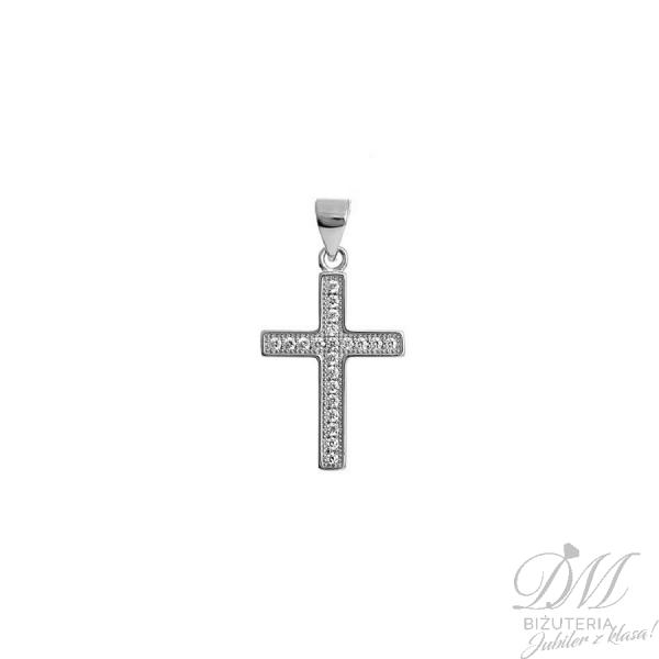 Krzyż zdobiony delikatnymi cyrkoniami