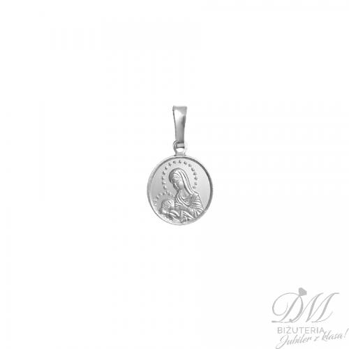 Medalik srebrny wizerunek Matki Boskiej z Dzieciątkiem