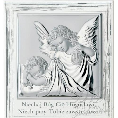 Obrazek srebrny Aniołek z dzieckiem na prezent