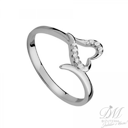 Srebrny pierścionek z sercem i cyrkoniami