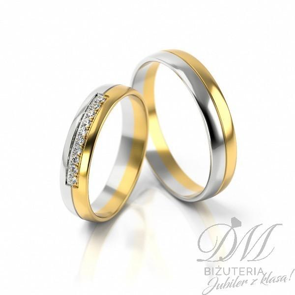 Obrączki ślubne mieszane złoto z kamieniami 4 mm