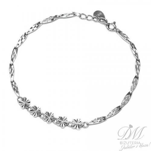 Piękna bransoletka z diamentowanymi kwiatami