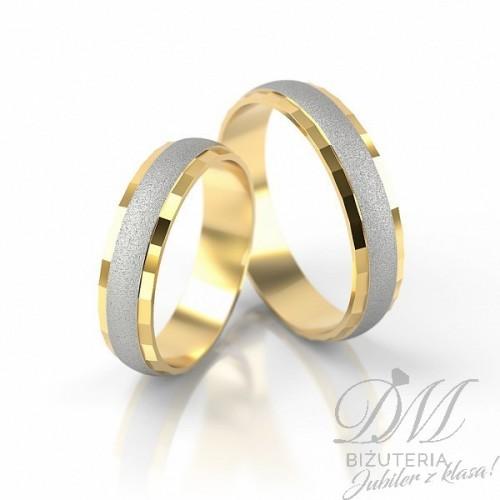 Obrączki ślubne półokrągłe bogato zdobione