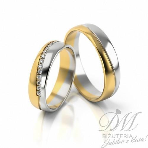 Obrączki ślubne dwukolorowe z kamieniami