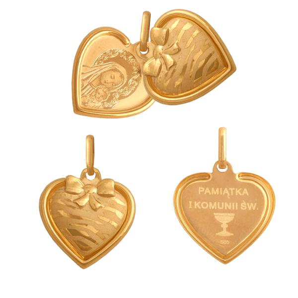 Złoty medalik serduszko rozsuwane z wizerunkiem Matki Boskiej