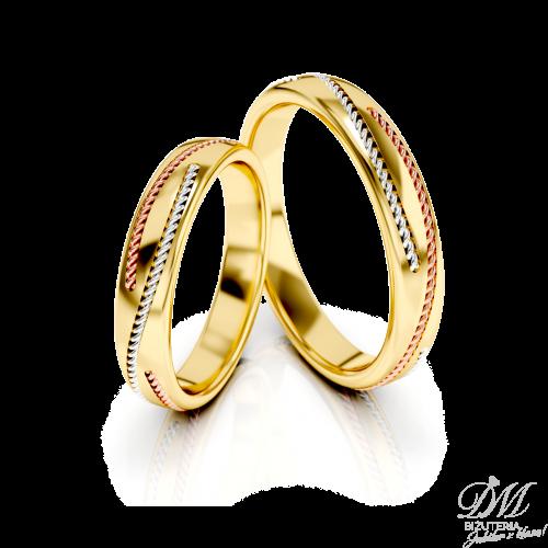 Obrączki ślubne żółte złoto delikatnie zdobione