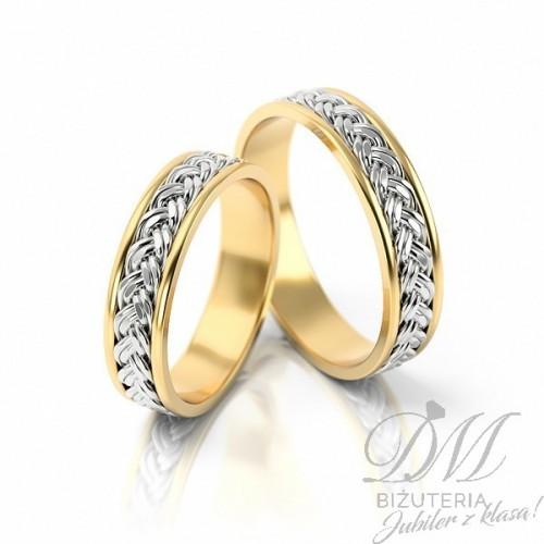 Obrączki ślubne pięknie zdobione białym złotem