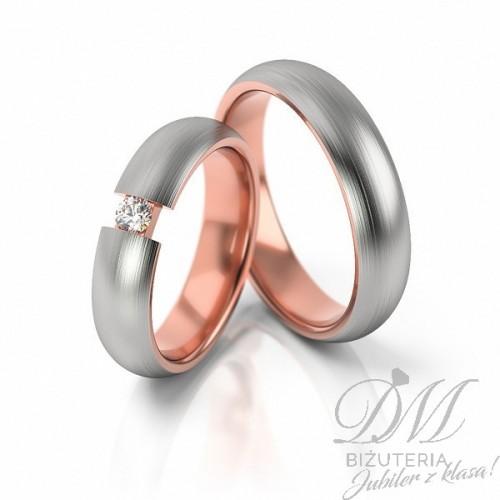 Obrączki ślubne z różowym złotem 5 mm