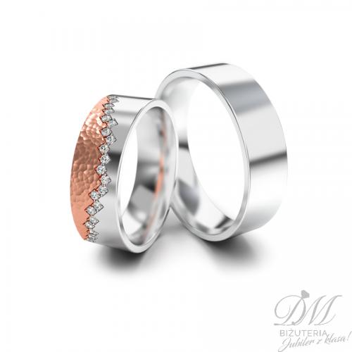 Obrączki ślubne płaskie różowe złoto 6 mm