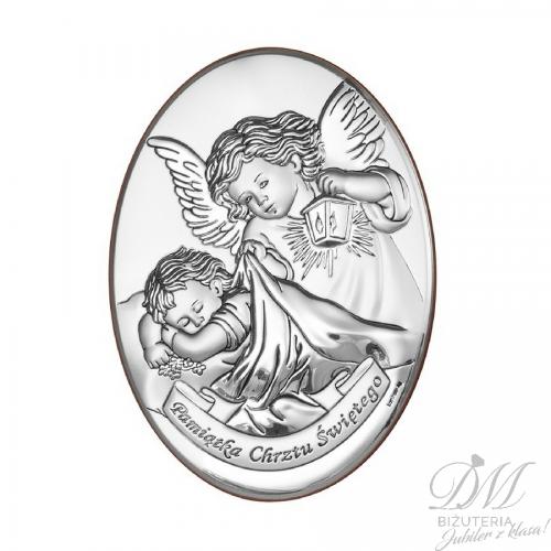Obrazek srebrny Aniołek z dzieckiem owal