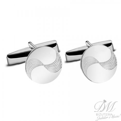 Spinki do mankietów srebrne okrągłe zdobione