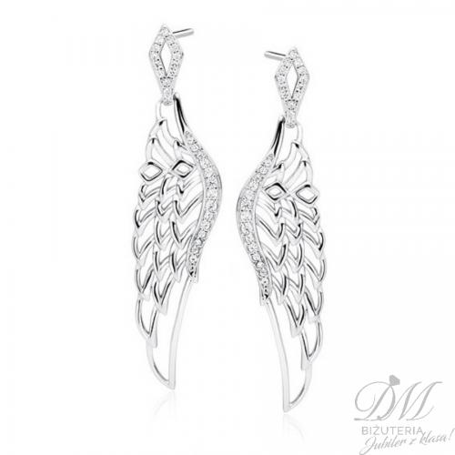 Kolczyki skrzydła Anioła z cyrkoniami