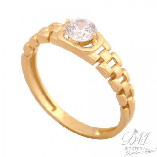 Złoty pierścionek z cyrkonią nowość