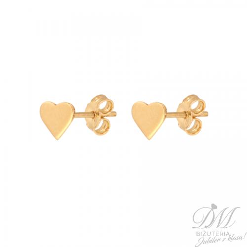 Złote serduszka kolczyki na sztyft