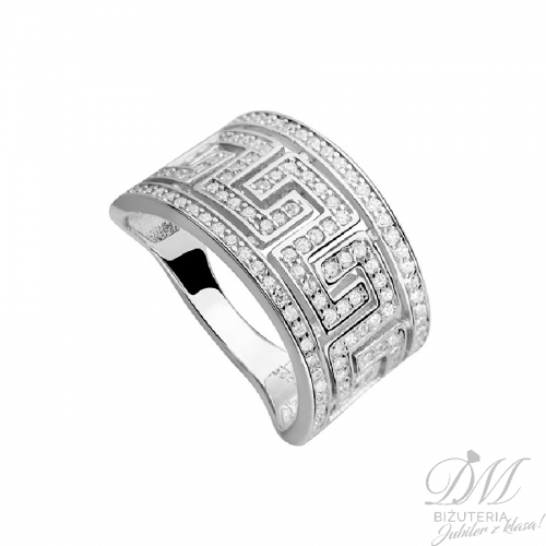 Szeroki pierścionek z greckim wzorem