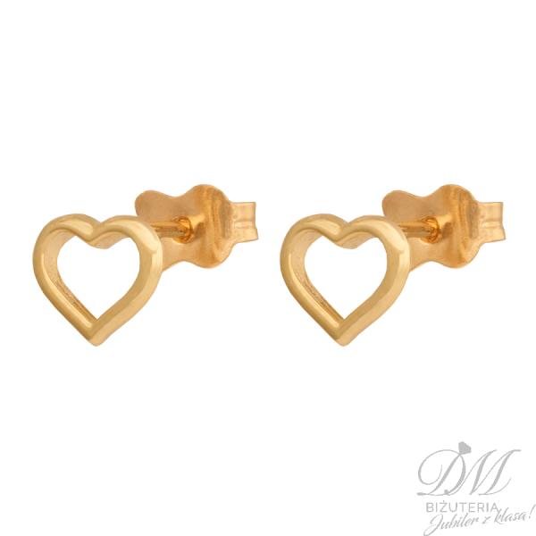Kolczyki złote delikatne serduszka