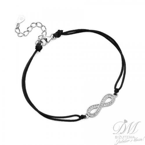 Sznurkowa bransoleta czarna znak nieskończoności