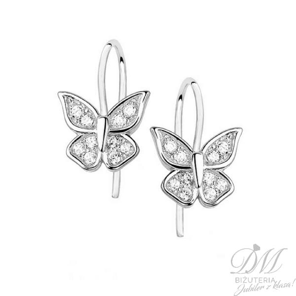 Kolczyki srebrne motylki z cyrkoniami