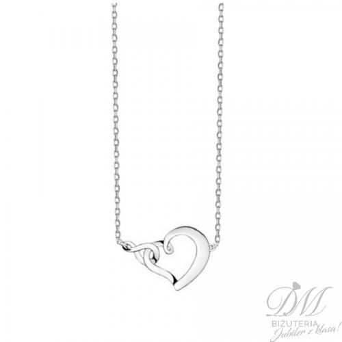 Srebrny naszyjnik z sercem i znakiem nieskończoności