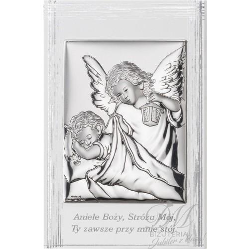 Obrazek srebrny Anioł z dzieckiem i modlitwą