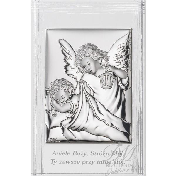 Obrazek srebrny Anioł z dzieckiem z modlitwą