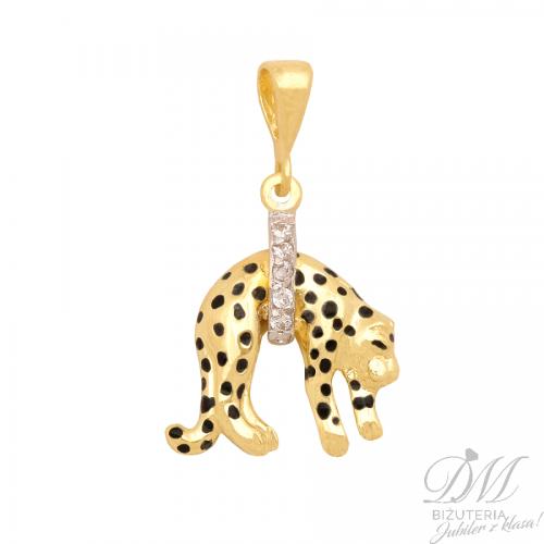 Złota pantera zdobiona cyrkoniami