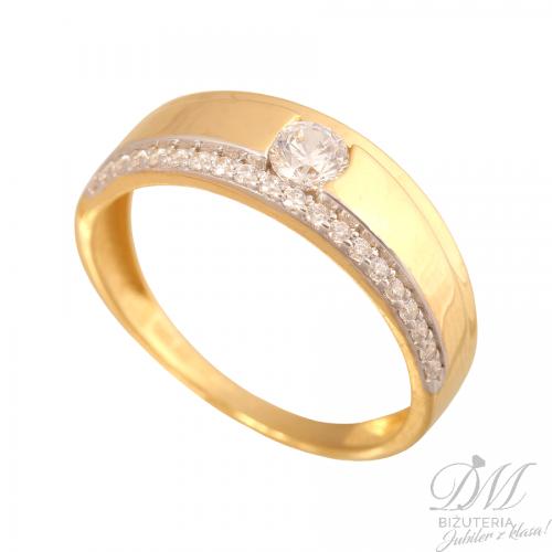 Złoty podwójny pierścionek zaręczyny