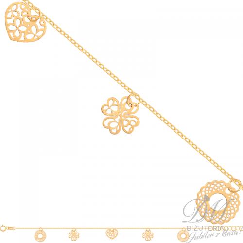 Delikatna bransoleta z koniczynką, oponką i serduszkiem