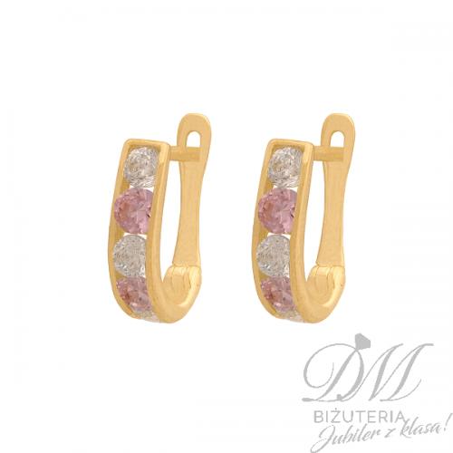Złote kolczyki z różową cyrkonią dla dziewczynki