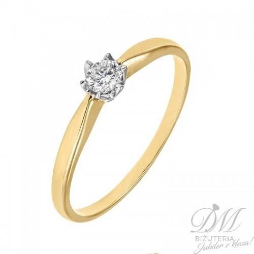 Złoty pierścionek z brylantami 0.15 ct