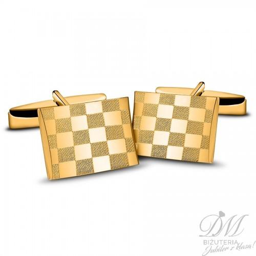 Spinki do mankietów pozłacane szachownica