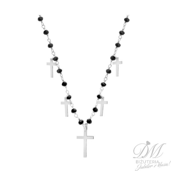 Srebrny choker z czarną cyrkonią i krzyżykami