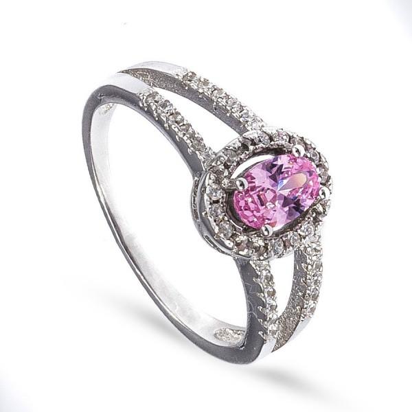 Srebrny pierścionek z różową cyrkonią