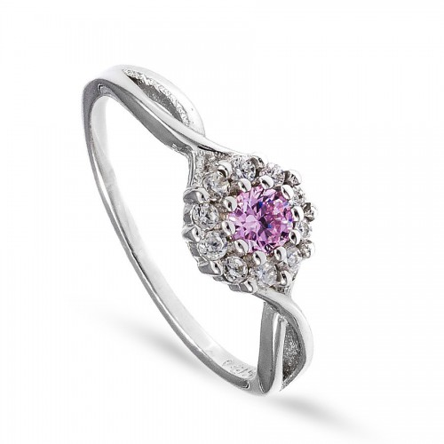 Wyjątkowy pierścionek z delikatną różową cyrkonią