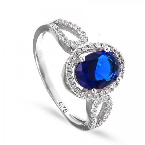 Srebrny pierścionek z dużą szafirową cyrkonią