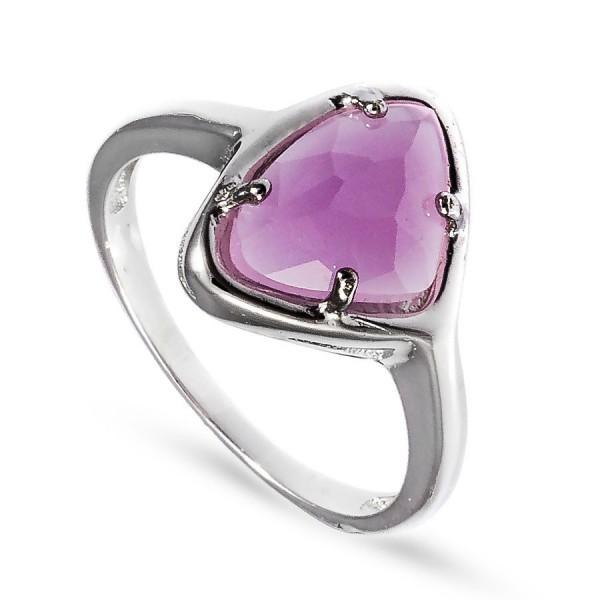 Srebrny pierścionek z jasnoróżową cyrkonią