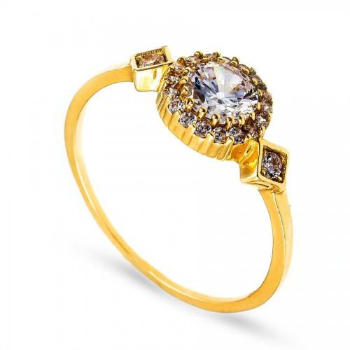 Złoty pierścionek z efektowną cyrkonią