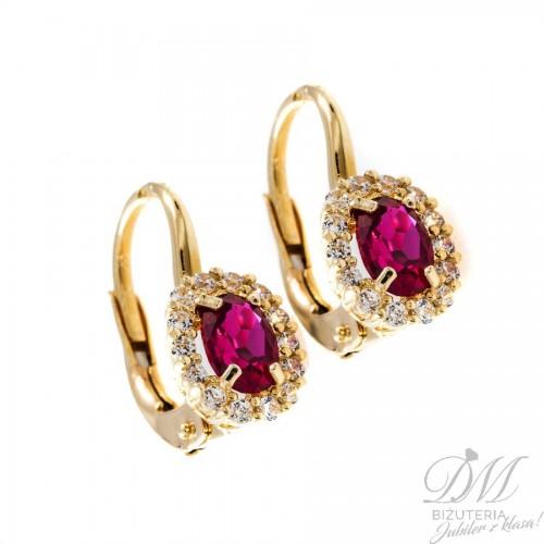 Złote kolczyki z różową cyrkonią