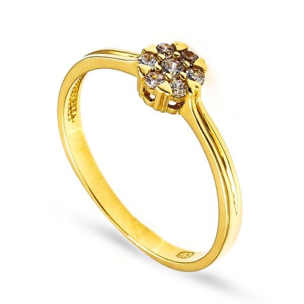 Złoty pierścionek z niewielkimi cyrkoniami