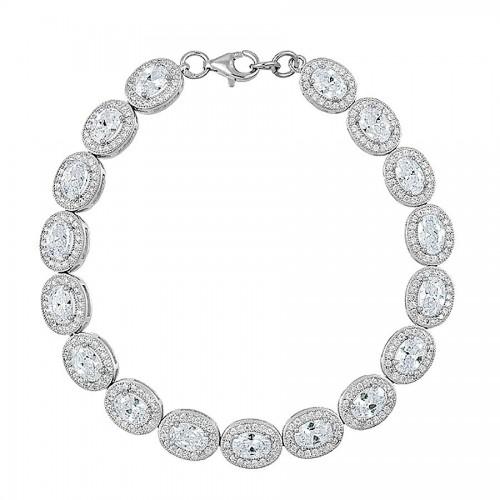 Piękna srebrna bransoletka zdobiona cyrkoniami