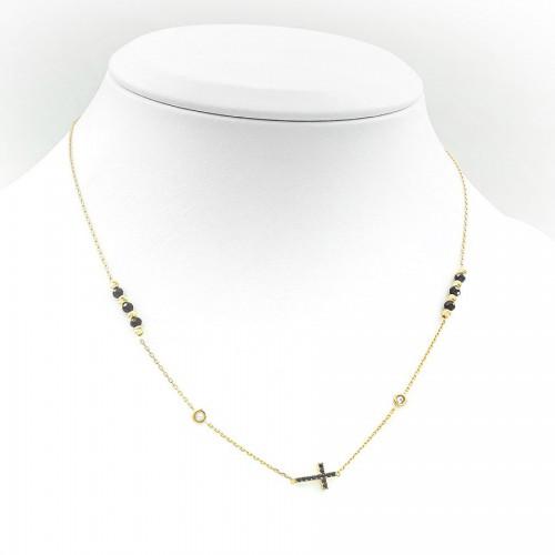 Bogato zdobiony złoty naszyjnik - Krzyż