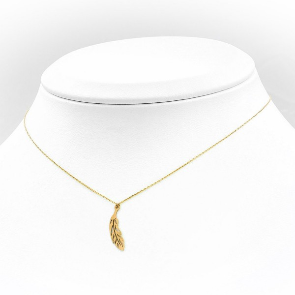 Niezwykły złoty naszyjnik celebrytka piórko