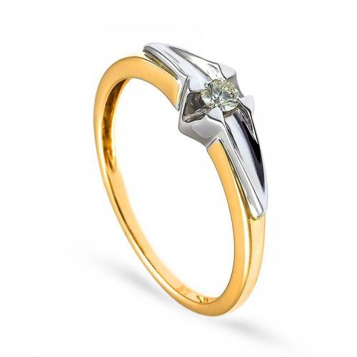 Nowoczesny pierścionek zaręczynowy z brylantem 0.10 ct