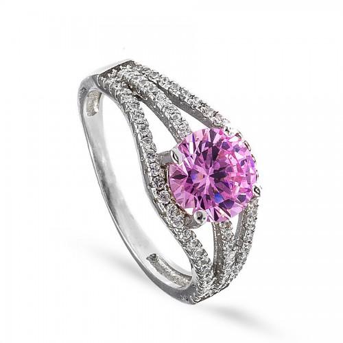Srebrny pierścionek z dużą różową cyrkonią