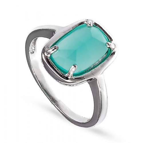 Srebrny pierścionek z prostokątną jasnozieloną cyrkonią
