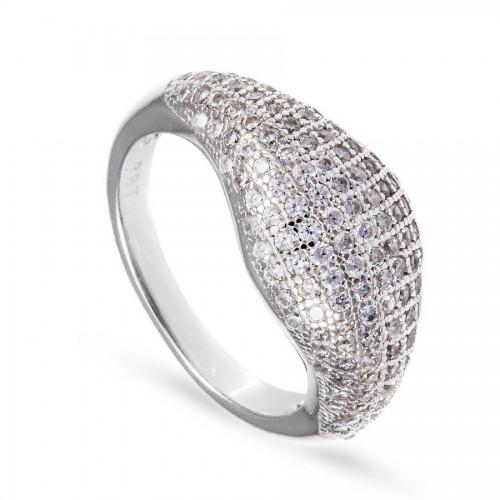 Srebrny pierścionek z drobnymi cyrkoniami