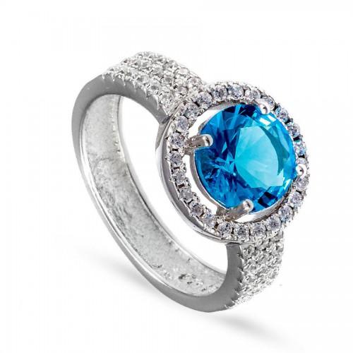 Piękny, okazały pierścionek z dużą cyrkonią