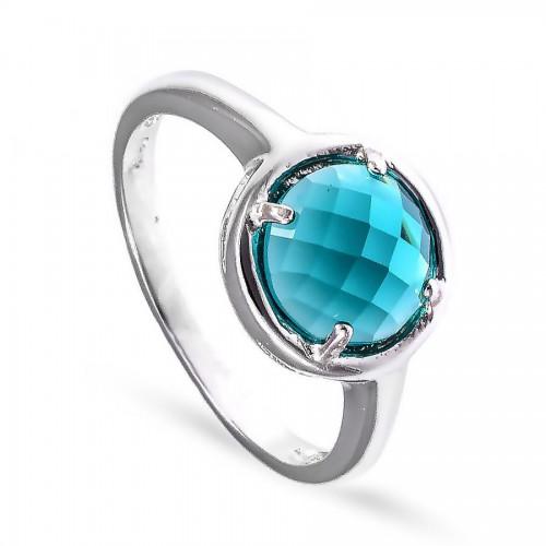 Srebrny pierścionek z okrągłą zieloną cyrkonią