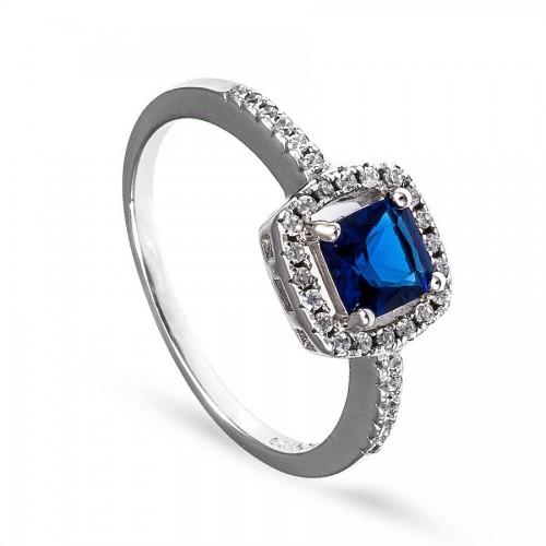 Srebrny pierścionek z kwadratową szafirową cyrkonią